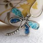 Dragonfly Necklace, Blue Dragonfly,..